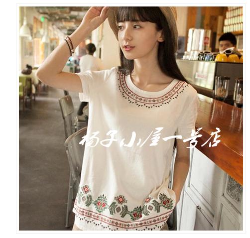 日系森女系原创民族风刺绣玛雅宽松白色棉麻上衣t恤女短袖夏