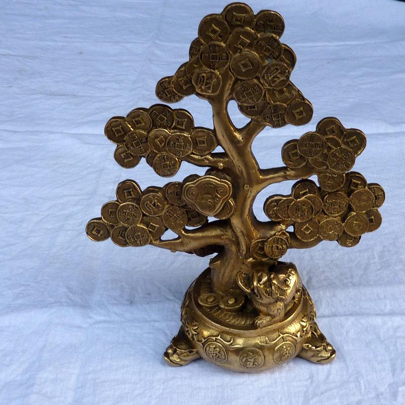 特价开光纯铜器仿古工艺精品 家居办公室摆件聚宝盆金钱树摇钱树