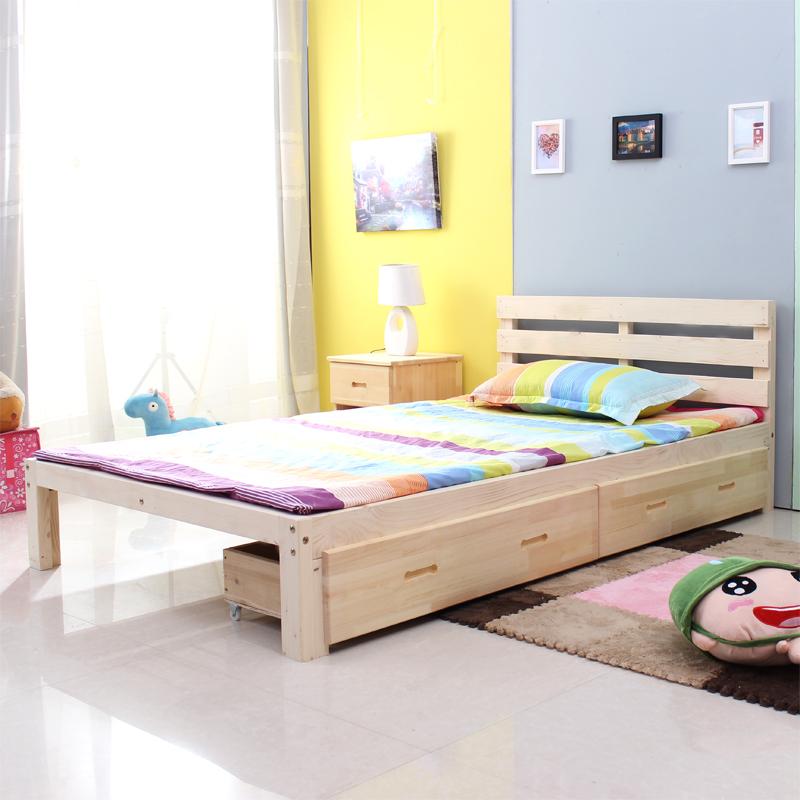 实木单人床1米 1.2米宽 简易松木双人床1.5米 1.8米 江浙沪包邮