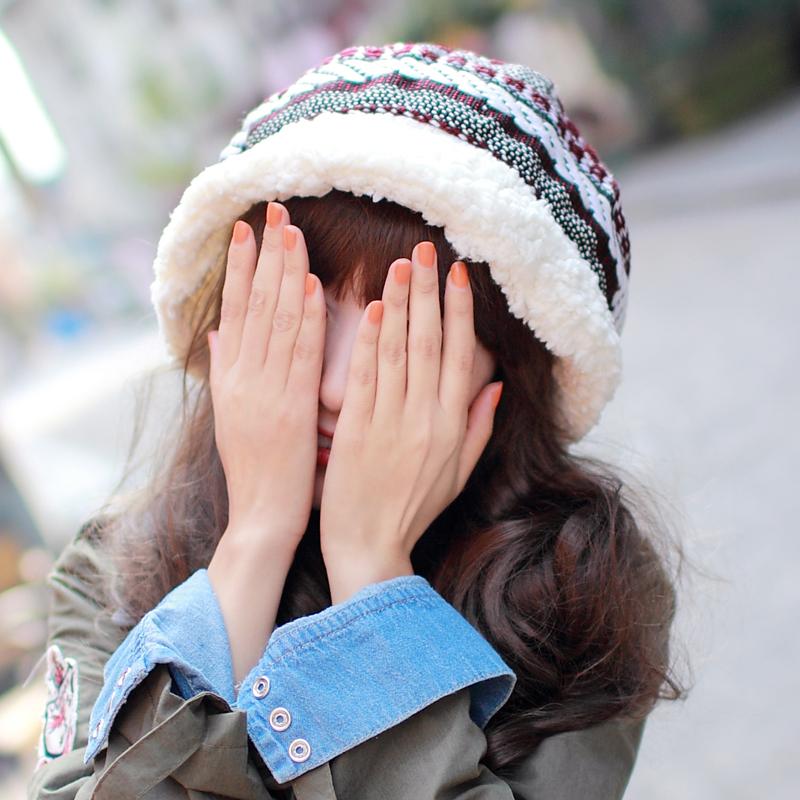 韩国韩版女帽秋冬帽针织帽子冬天可爱盆帽羊羔绒帽保暖毛线帽护耳