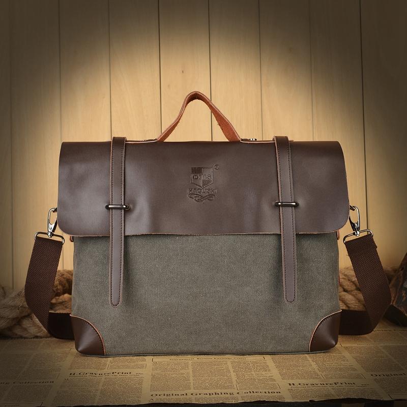 新款男士商务手提包 帆布包 配皮男包 复古潮流男包手提斜跨包包