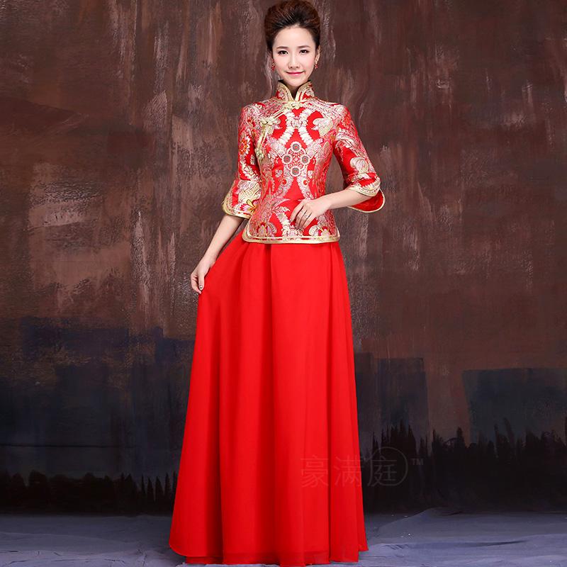 新娘红色修身长旗袍裙 2014新款修身七分袖复古改良敬酒旗袍 秋冬