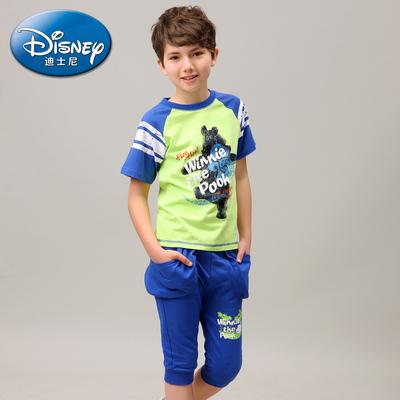 [狂欢价] 迪士尼/Disney童装男童 维尼短袖短裤纯棉套装 2015儿童夏装新品