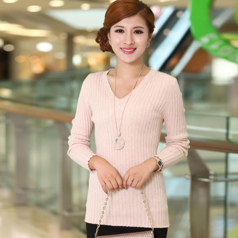 2014新款女士羊毛衫V领修身羊绒衫条纹打底衫毛衣针织衫