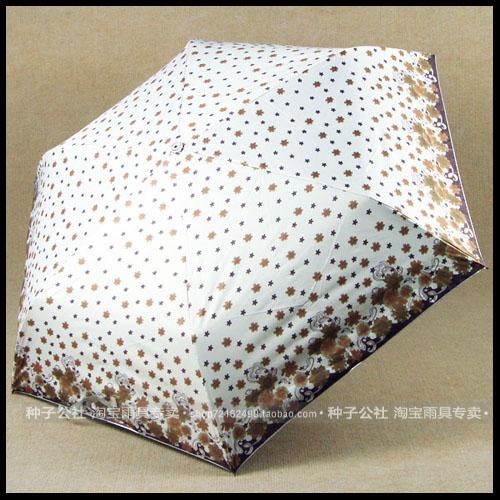 L&R炫彩水晶手柄铅笔伞 银胶大伞面 防紫外线 三折遮阳伞 太阳伞