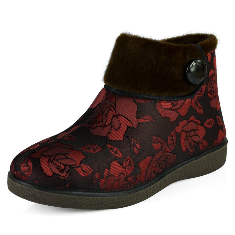 正品老北京布鞋女冬款棉鞋中老年棉短靴妈妈鞋老人鞋加厚防滑软底