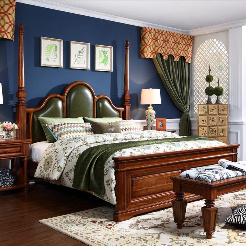 美式纯实木床 简美全实木家具1.8米2*2.2