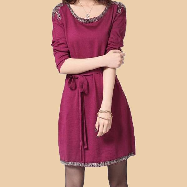 2014秋冬装新款大码女装长袖连衣裙 钉珠加厚羊毛针织打底毛衣裙