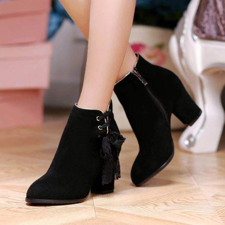 真皮粗跟高跟鞋短靴马靴小码31 32 33大码40 43蕾丝系带牛皮鞋女