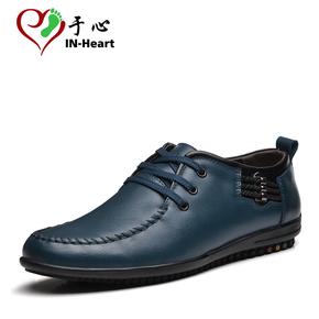 于心春季新款男士休闲鞋透气男鞋英伦真皮软底商务皮鞋系带男单鞋