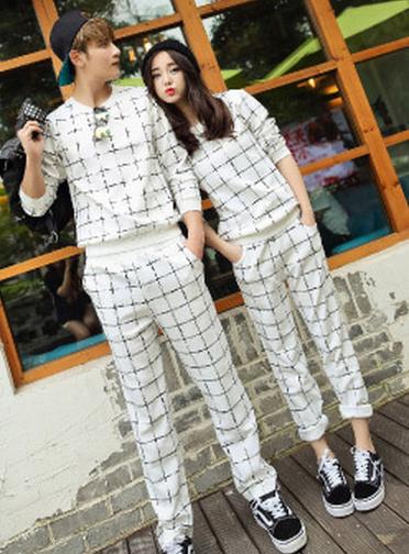 2014时尚韩版格子撞色男女套头卫衣运动套装 两件套打底衫情侣装