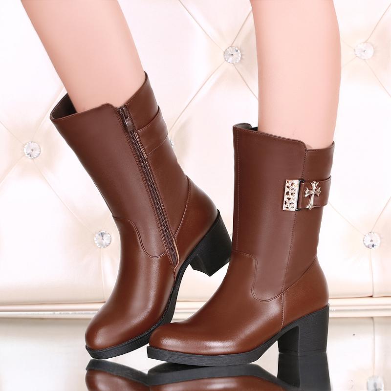 意尔康 真皮女靴 2014秋季新款正品休闲中筒靴子马丁靴女鞋