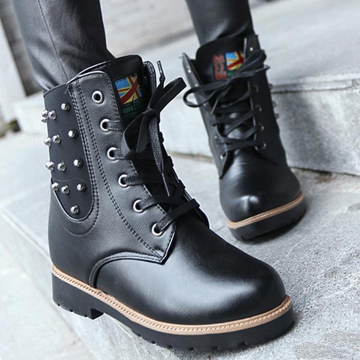 2014新款马丁靴女英伦风短靴高帮鞋内增高铆钉低跟靴复古潮女靴子
