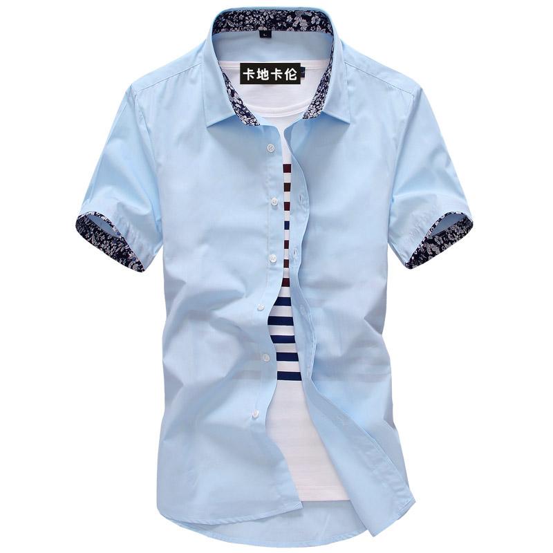 卡地卡伦夏装新款碎花领青少年男装短袖衬衫夏季上衣男汗衫潮衬衣