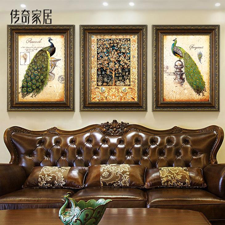 时尚欧式卧室沙发挂画三联画客厅装饰画