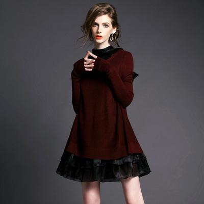 欧洲站2015秋冬新款时尚娃娃服A字针织两件套长袖打底连衣裙子