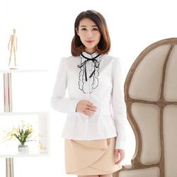 简朵2016春季新品韩版时尚女装立领撞色修身公主风女衬衫A41135