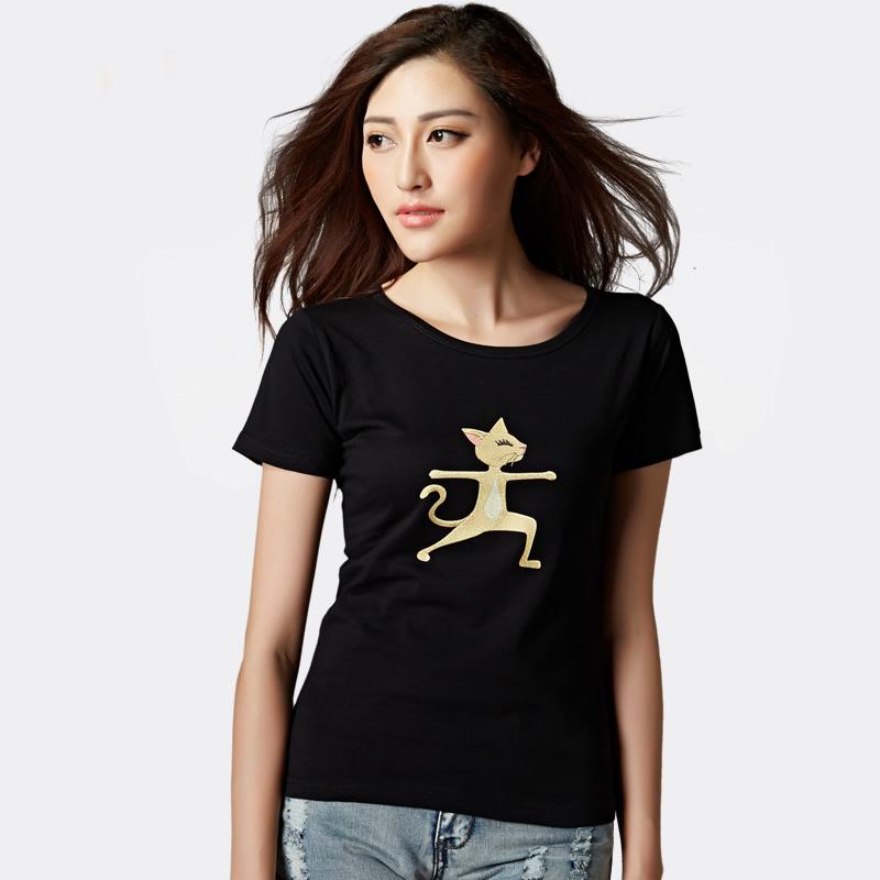人印人爱个性瑜伽猫纯棉T恤 女士圆领瘦身定制 纯色休闲 新品包邮
