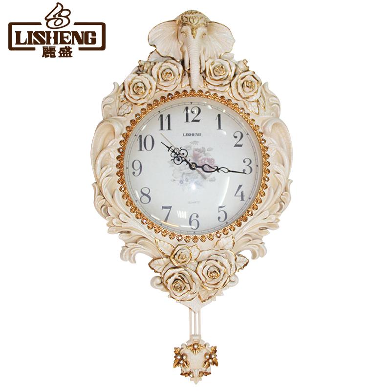 丽盛欧式古典创意挂钟 大象艺术客厅挂钟 高档吉祥时钟 B8150