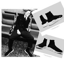 潮鞋 高帮鞋 运动休闲布袜靴男女情侣鞋 马丁靴男靴套脚弹力袜子鞋