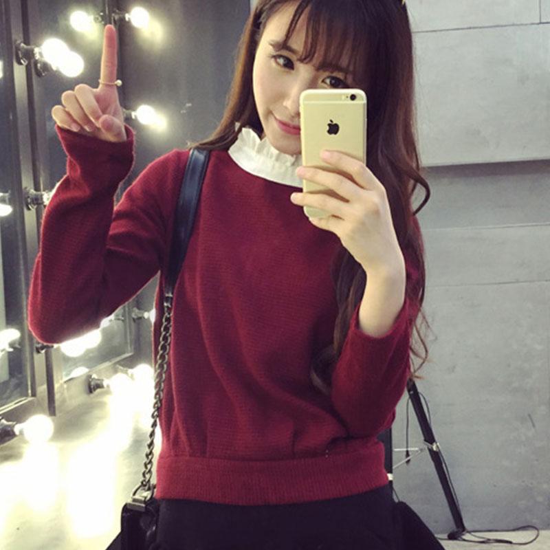 衬衫毛衣假两件套女装韩版短款宽松甜美森女套头打底衫9.9折800
