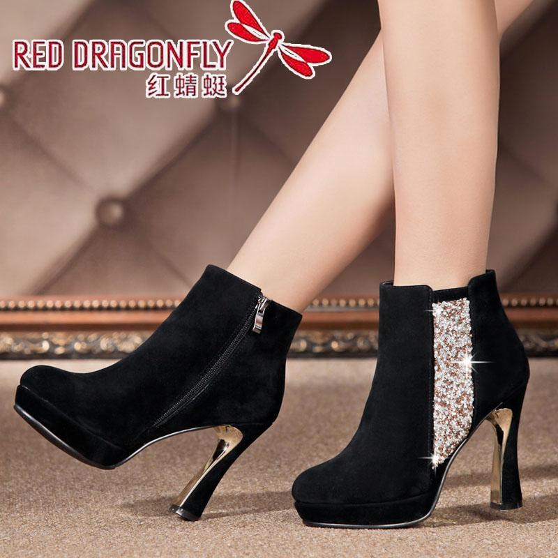 女靴秋冬短靴2014高跟防水台水钻粗跟真皮性感骑士靴子女