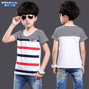 童装男童短袖T恤中大童纯棉体恤衫2015新款夏装儿童圆领条纹体恤