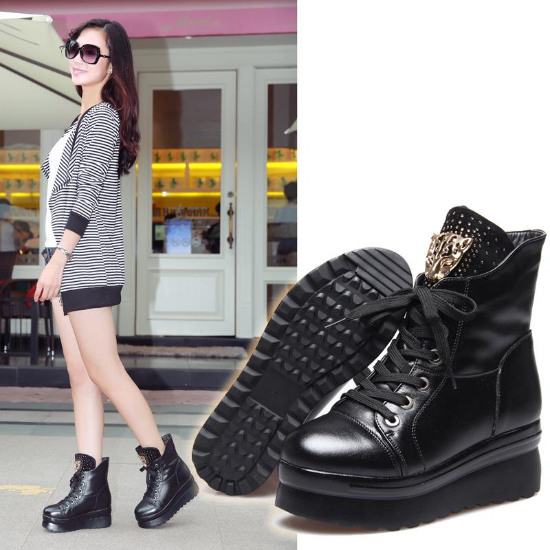 2014秋冬新款女靴厚底松糕鞋坡跟马丁靴 真皮女单靴子欧美女短靴