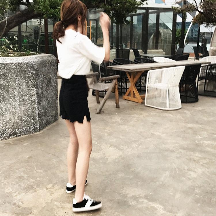 瞌睡兔 黑色 半身女學生春裝短裙包臀裙顯瘦