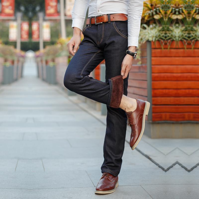 男装秋冬款加绒加厚牛仔裤男青年修身韩版潮流弹力小脚裤男士长裤