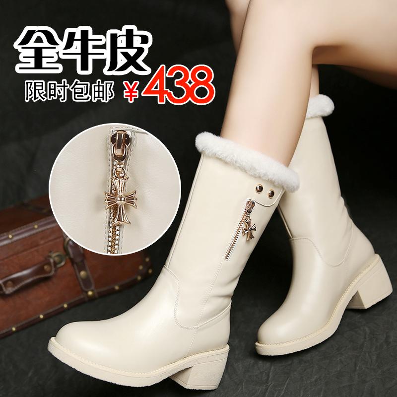 真皮女靴白色中筒靴子冬靴女学生靴子中跟中筒皮靴子女中靴秋冬季