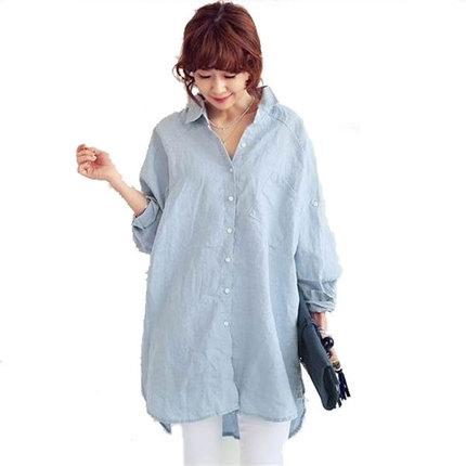 2016加肥大码女装200斤胖mm上衣亚麻衬衫长袖衬衣秋装宽松休闲潮