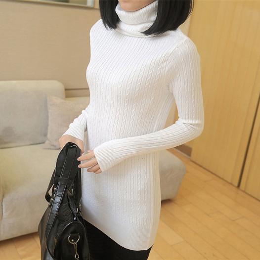 2014冬季女装新款 韩版堆堆领针织打底衫女长袖紧身白色打底毛衣