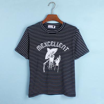 2015夏季新款酷炫印花老人头字母短袖T恤宽松显瘦女装打底衫圆领