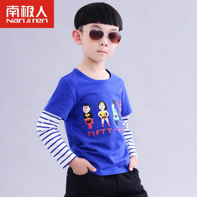 南极人 2014儿童秋季新款长袖t恤 男童纯棉卡通条纹拼接t恤外出服