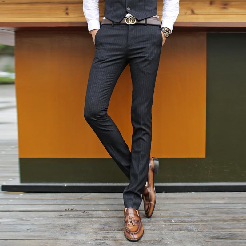男士西裤韩版修身男小脚西裤条纹小西裤潮男潮裤英伦长裤西服裤