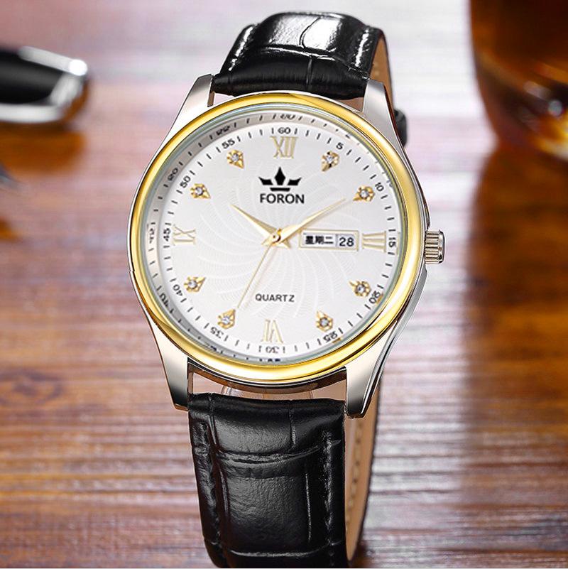 真皮双日历夜光男士手表时尚石英表男女士学生防水手表非机械手表