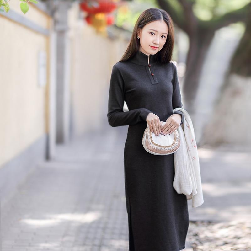 伶俐柠檬原创10692文艺范中国风长款连衣裙旗袍女装预售