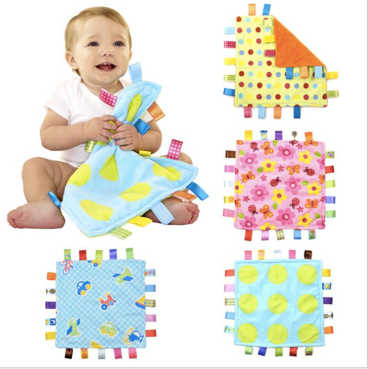 超柔软美国Taggies彩色标签婴儿安抚巾抓握布玩具情绪安抚手帕
