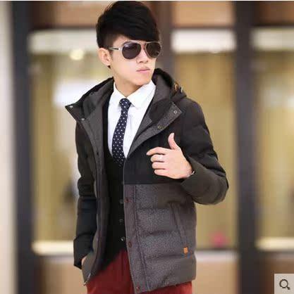 韩版潮男修身短款连帽羽绒服青春流行青年加厚白鸭绒冬装大码外套