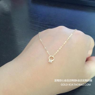[年末特惠] 韩国代购正品14k金项链 迷你戒指吊坠k黄金锁骨链 纯金首饰女款