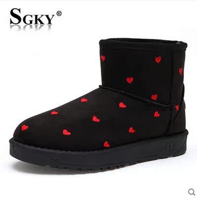 2014新款冬季雪地靴女心形短筒靴短靴子保暖甜美棉靴棉鞋韩版女鞋