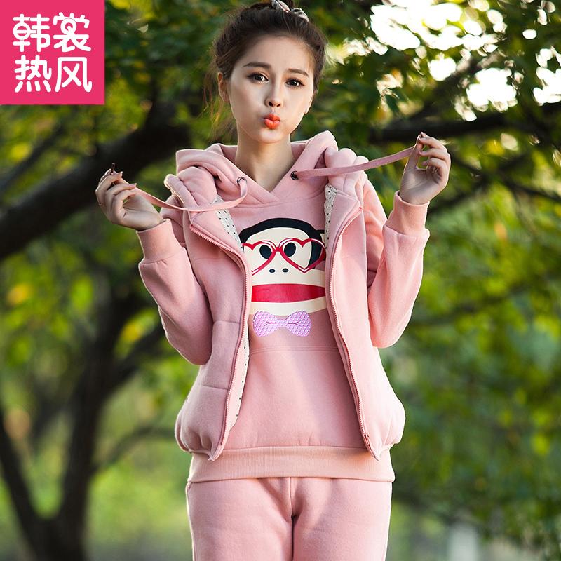秋冬2014韩版学生装胖mm加绒加厚大嘴猴卫衣三件套运动休闲套装女