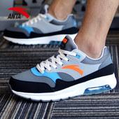 安踏男鞋气垫鞋男皮面新款运动休闲鞋跑步室内健身房专用训练鞋子