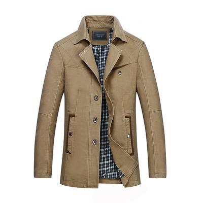 [限时优惠] 2015秋季新款夹克男商务休闲外套 中老年夹克衫翻领修身爸爸外装