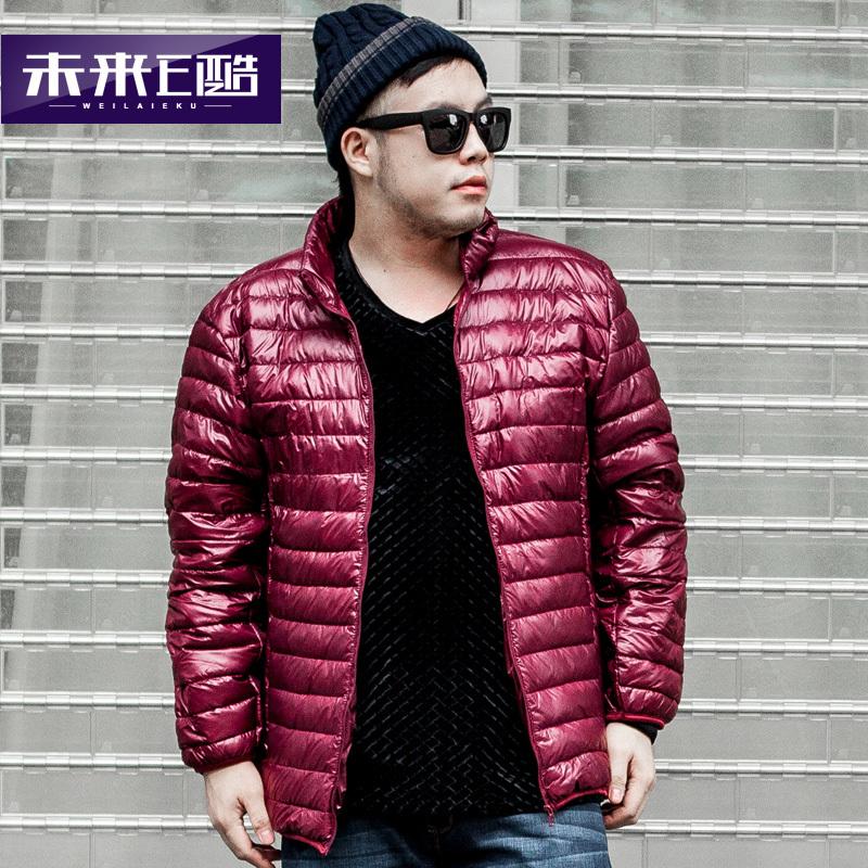 2014冬季短款辑行外穿大码外套男士轻薄立领夹克男装加大羽绒服