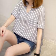 2017新款夏装竖条纹衬衫女韩范宽松职业短袖韩版夏季衬衣女装上衣