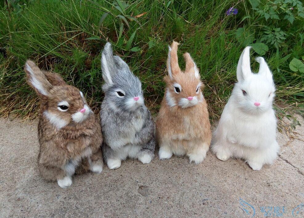 四色仿真皮毛动物 可爱小白兔公仔