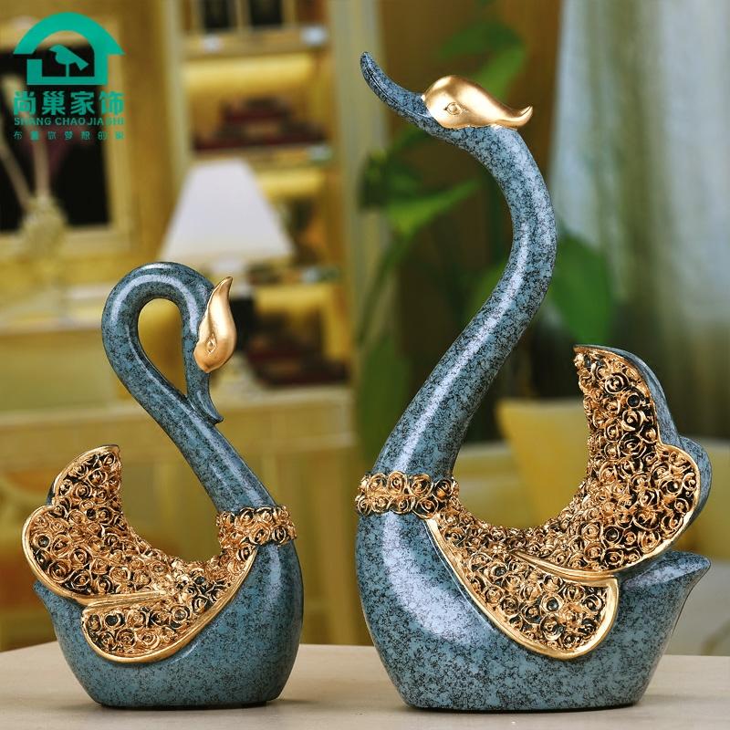 创意客厅酒柜工艺品摆件家居装饰品欧式天鹅礼品摆件