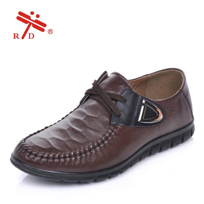 臺灣紅蜻蜓皮鞋 2014秋冬新品男鞋 真皮软面简约 男士休闲皮鞋